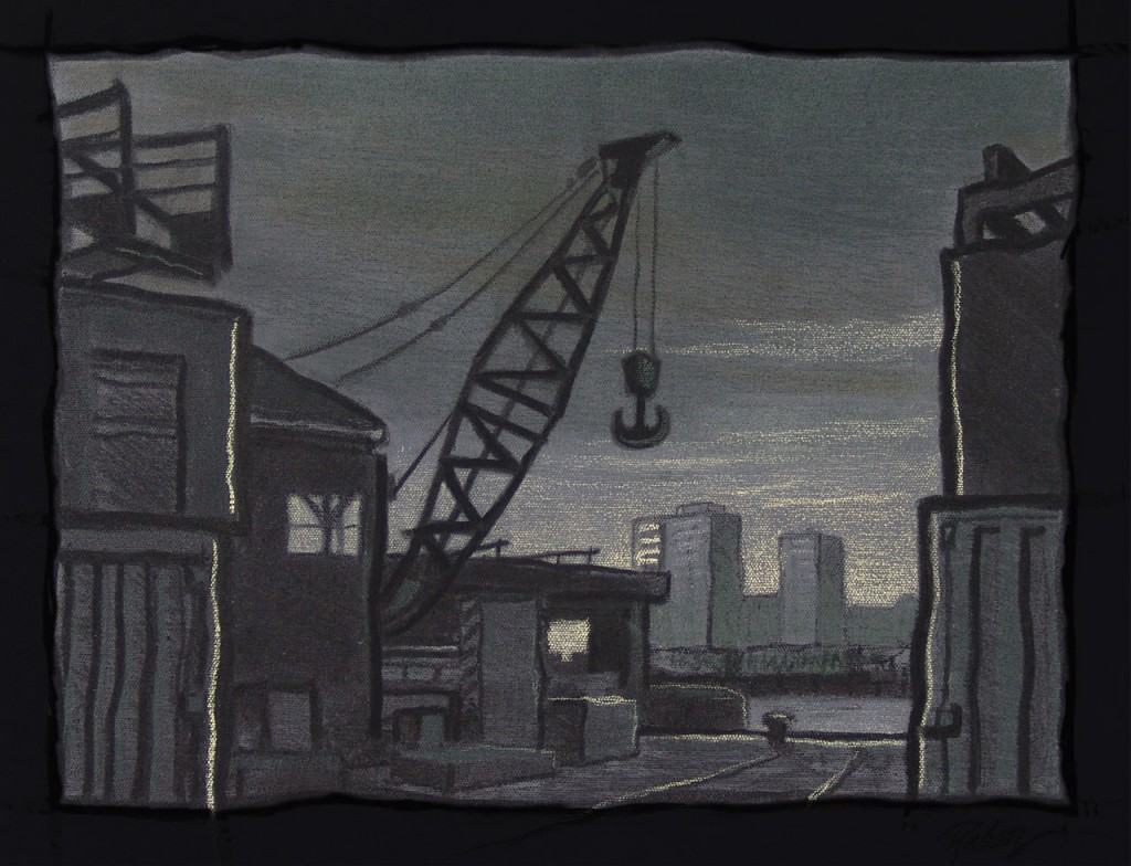 Antwerp Harbor -charcoal on canvas