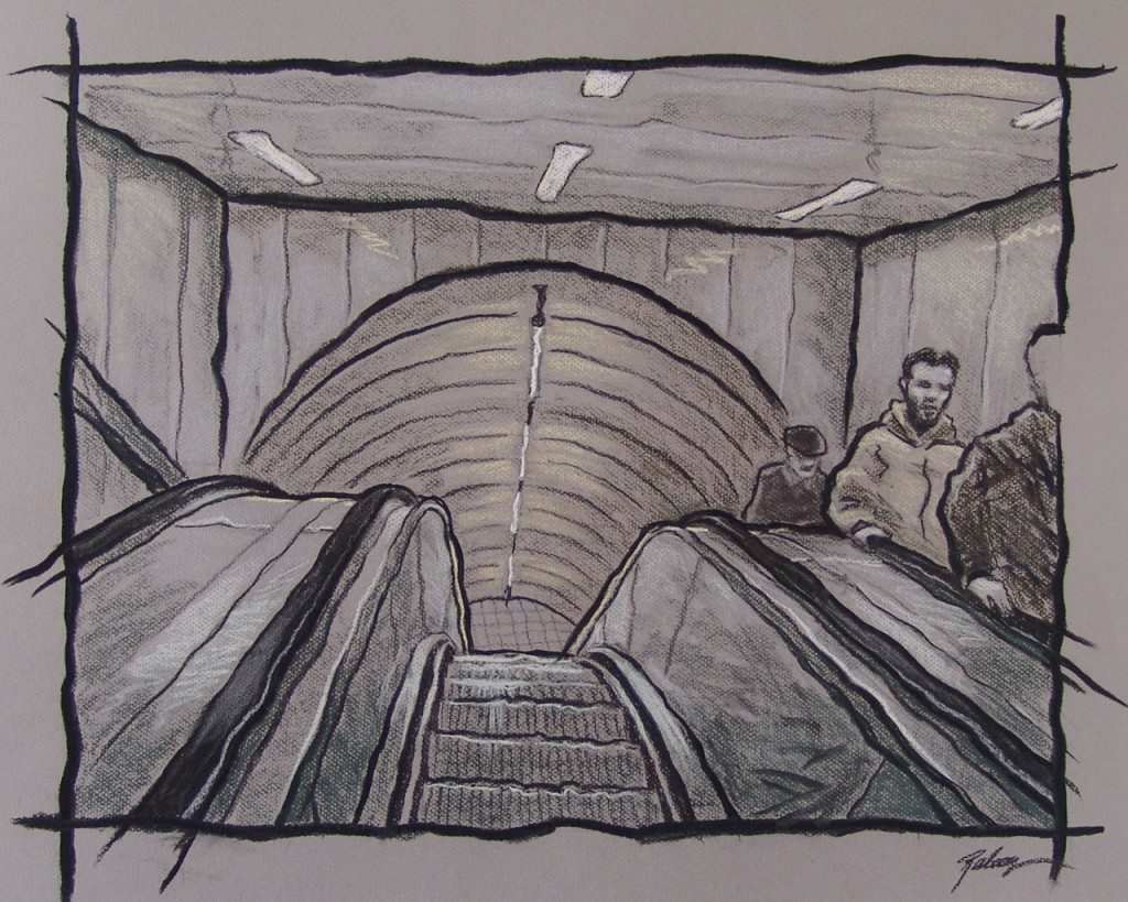 London underground, escalators